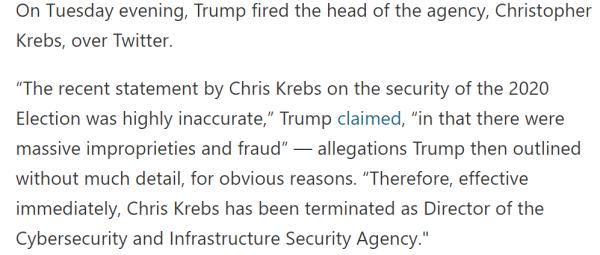 Trump fired Krebs