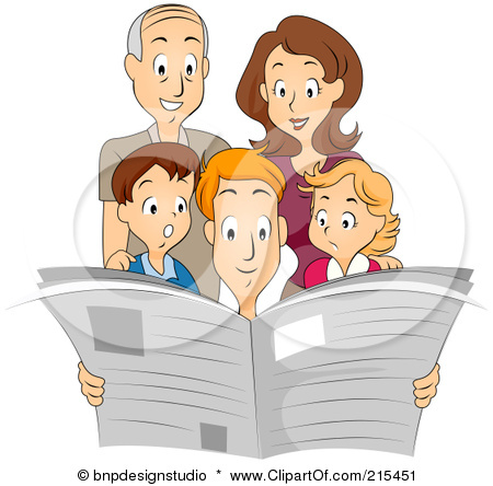 215451-Royalty-Free-RF-Clipart-Illustration-Of-A-Family-Reading-A-Newspaper-Together