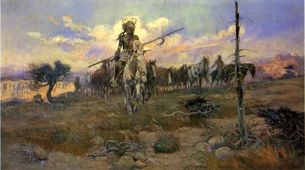 Bringing-Home-the-Spoils-1909-Charles-Marion-Russell-Oil-Painting