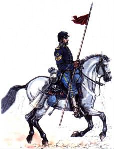 Lancer on trotting horse
