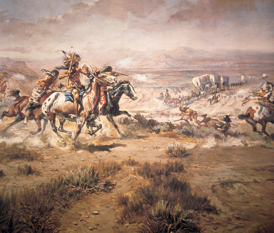 attack-on-the-wagon-train-charles-marion-russell