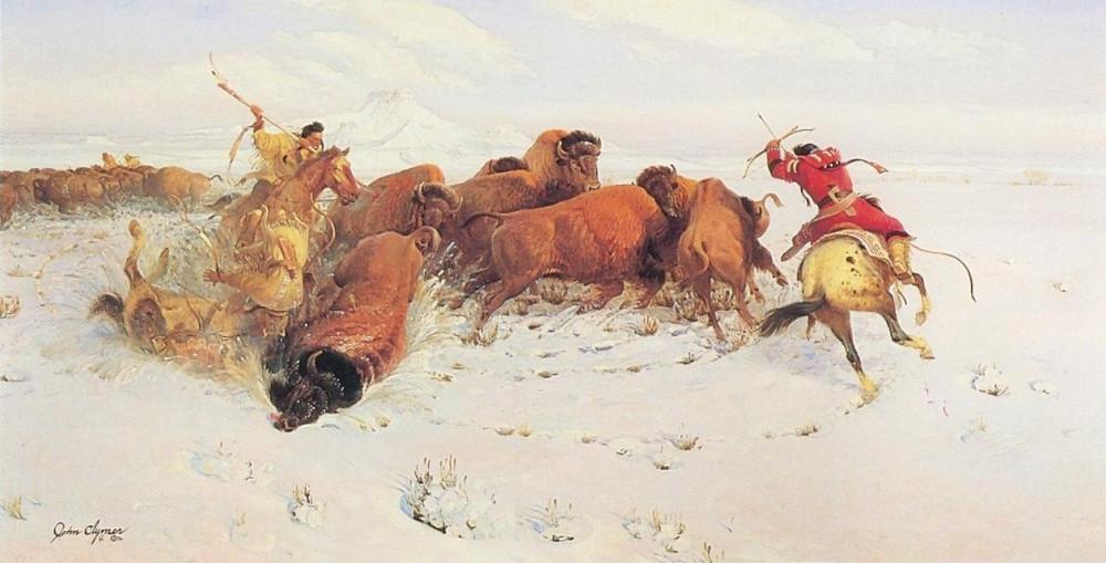 4 Crows Hunting Buffalo - John Clymer