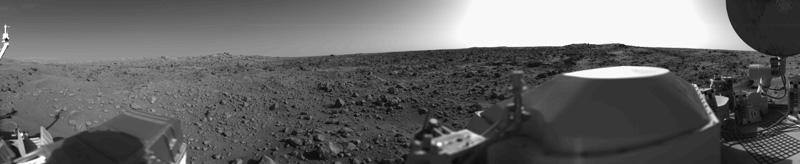 Первый панорамный снимок поверхности Марса. «Викинг-1», 1976