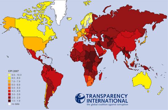 carte pays corruption dans le monde