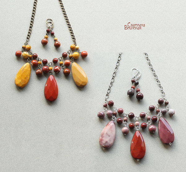 мукаит бусы ожерелье комплект подвеска авторские украшения натуральные камни