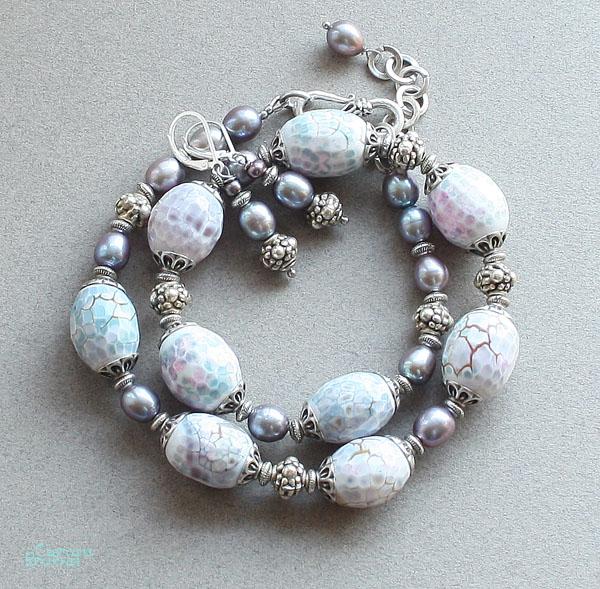 бусы авторские украшения натуральные камни граненый агат жемчуг