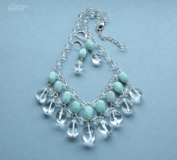 бусы ожерелье амазонит горный хрусталь натуральные камни украшения