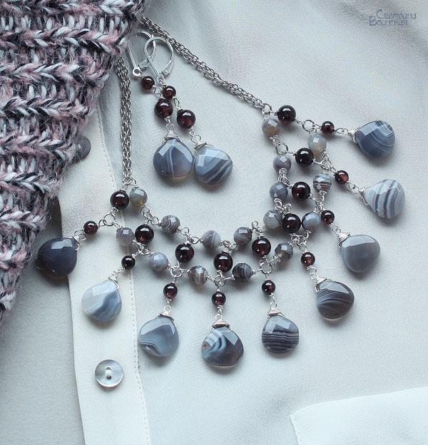 бусы ожерелье авторские украшения агат ботсвана гранат натуральные камни