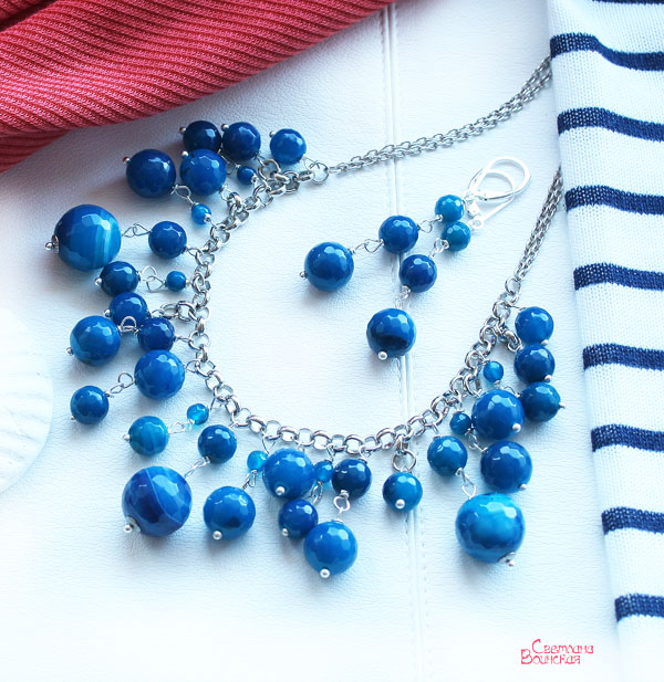 коллекция украшений синий агат морской стиль бусы браслет ожерелье голубой украшения дизайн