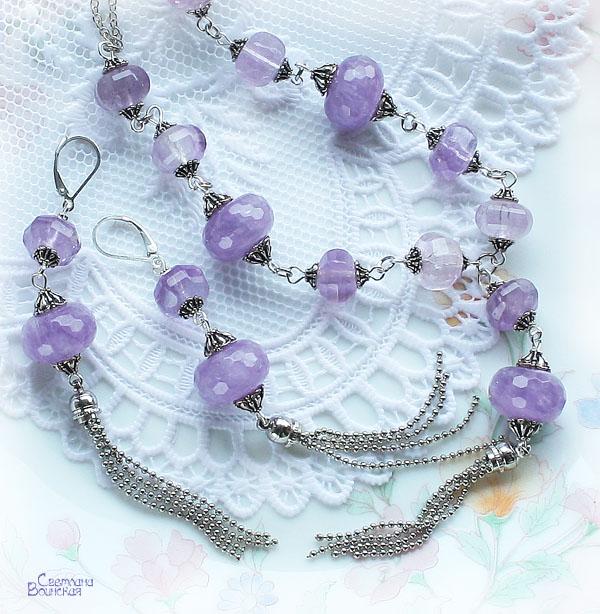 аметист бусы серьги серебро авторские дизайнерские украшения натуральные камни
