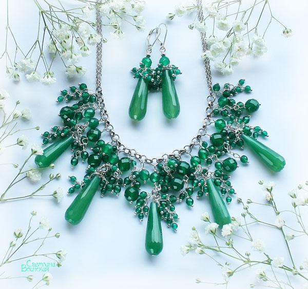 авторские дизайнерские украшения натуральные полудрагоценные камни бусы ожерелье агат хризопраз