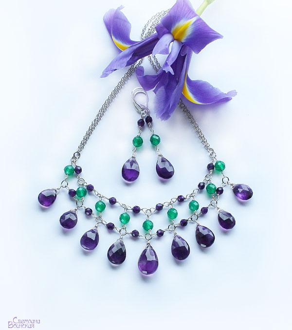 авторские дизайнерские украшения бусы натуральные камни ожерелье аметист хризопраз