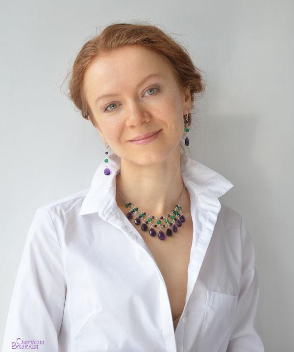 авторские дизайнерские украшения бусы натуральные полудрагоценные камни ожерелье аметист хризопраз