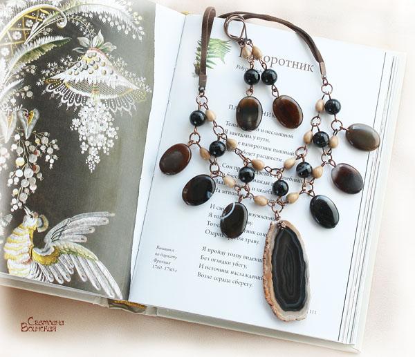 черный коричневый кофе бежевый медь агат срез дерево серьги комплект бусы ожерелье этника этнические украшения натуральные полудрагоценные камни