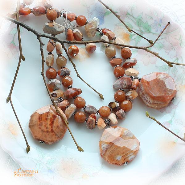 ожерелье из натуральный агат опал бусы комплект авторские украшения полудрагоценные граненый  массивное колье камни лето летние
