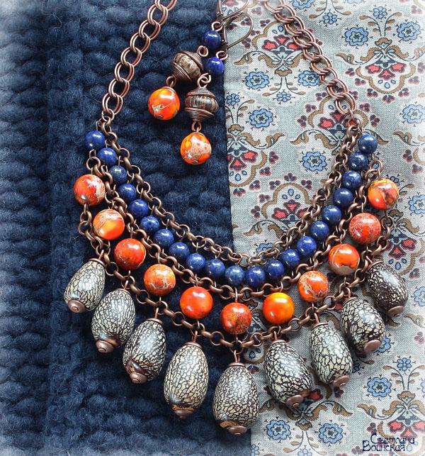 медь варисцит яшма лазурит орехи дерево бусы этника этнический стиль серьги авторские дизайнерские украшения подвески лето комплект украшений оранжевый синий коричневый натуральные полудрагоценные камни
