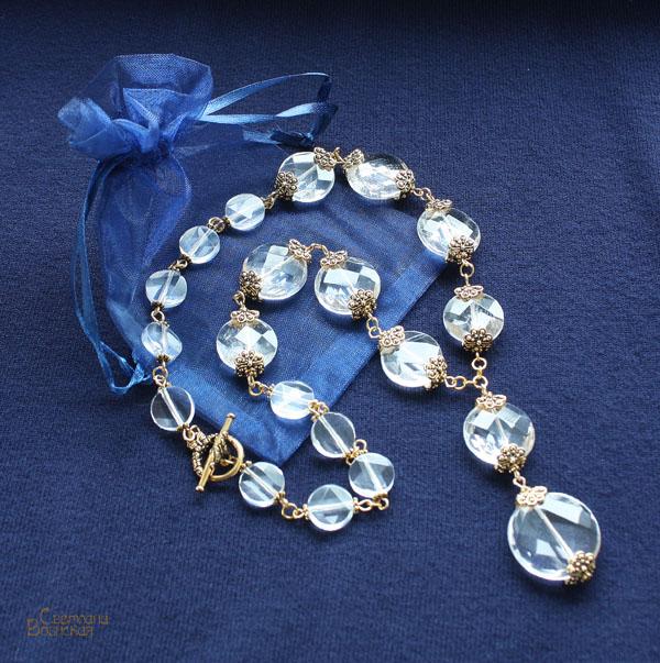 золото позолота горный хрусталь граненый версаль праздничный бусы браслет серьги авторские дизайнерские украшения дворцовый стиль вечерние комплект украшений прозрачный натуральные полудрагоценные камни