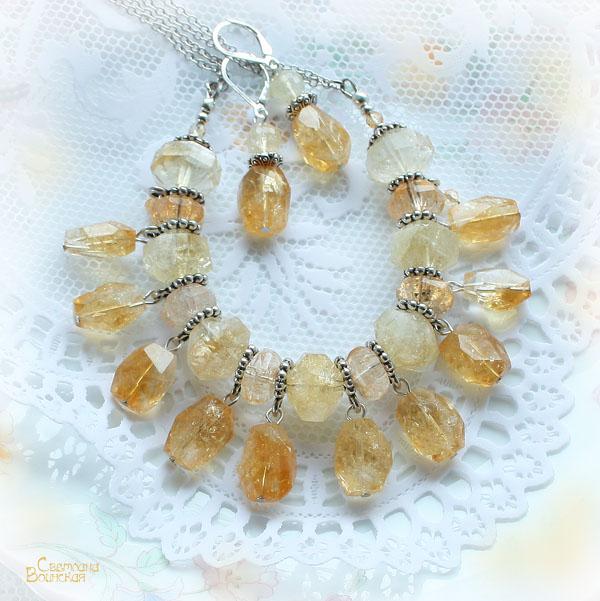 цитрин граненый ожерелье серебро посеребрение бусы серьги авторские дизайнерские украшения солнце лето комплект украшений прозрачный натуральные полудрагоценные камни