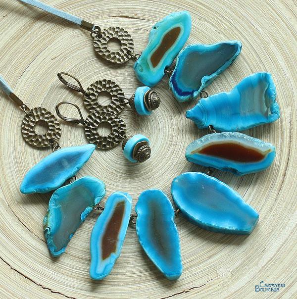 агат срезы агата бирюза бирюзовый синий голубой слайс друза колье ожерелье бронза бусы длинные серьги авторские дизайнерские украшения остров лето этнический стиль море лето комплект украшений натуральные полудрагоценные камни