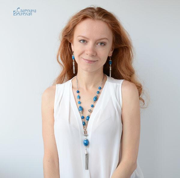 браслет серьги длинные бусы ожерелье агат натуральные камни авторские украшения
