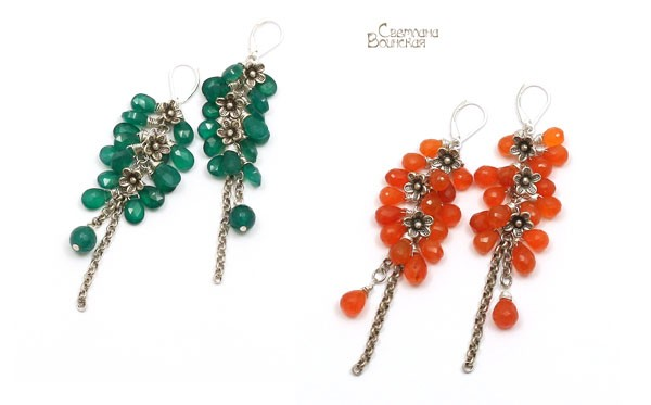Серьги длинные бусы ожерелье хризопраз сердолик ручная огранка натуральные камни авторские украшения