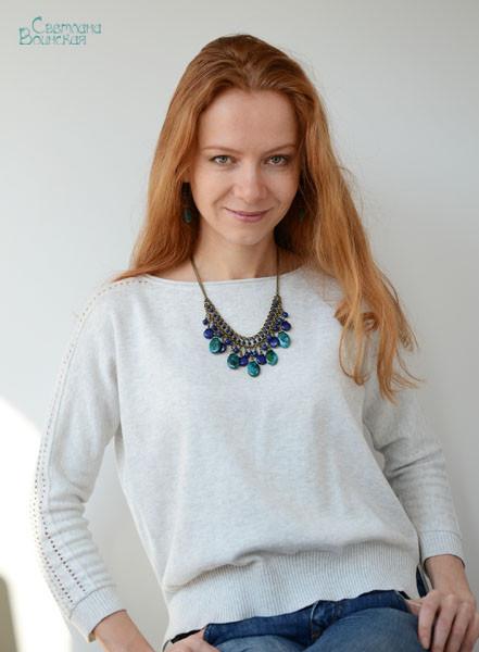 джинсы браслет ожерелье из натуральный лазурит хризоколла длинные бусы комплект авторские украшения камни