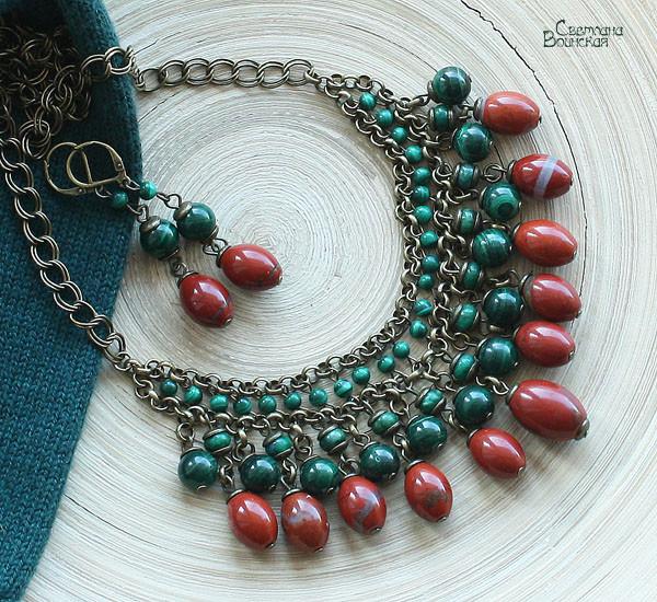 браслет ожерелье из натуральный яшма малахит длинные бусы комплект авторские украшения камни