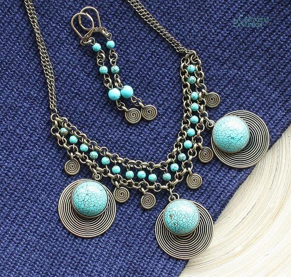 браслет ожерелье из натуральный говлит бирюза длинные бусы комплект авторские украшения камни