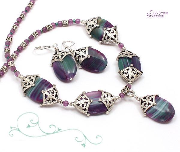 браслет ожерелье из натуральный агат зеленый фиолетовый серебро длинные бусы комплект авторские украшения камни