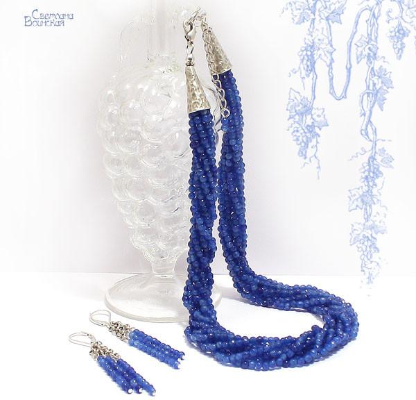 хомутик браслет ожерелье из натуральный агат синий серебро длинные бусы комплект авторские украшения камни