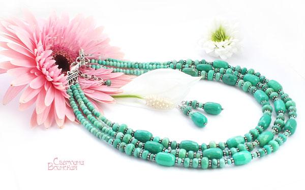 браслет ожерелье из натуральный хризопраз длинные бусы комплект авторские украшения камни