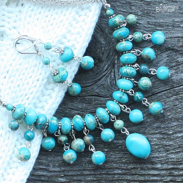 варисцит браслет ожерелье из натуральный яшма бирюза длинные бусы комплект авторские украшения камни