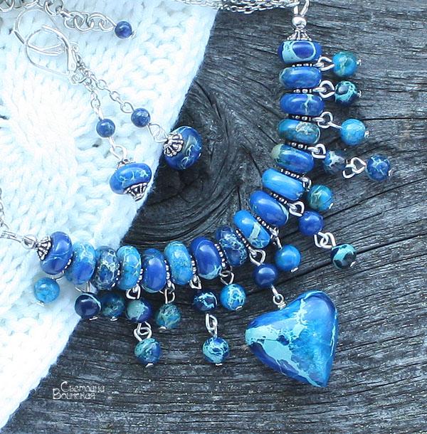 сердце браслет ожерелье из натуральный яшма варисцит длинные бусы комплект авторские украшения камни