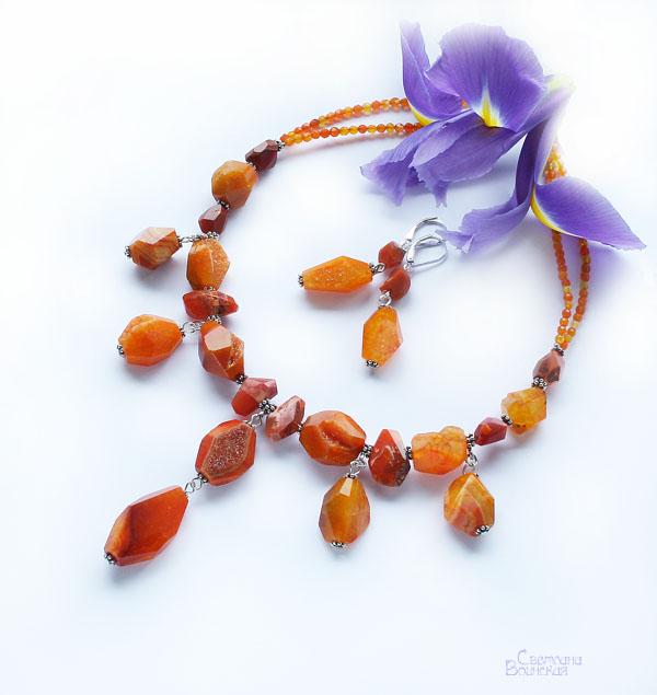 браслет ожерелье из натуральный агат с друзой опал длинные бусы комплект авторские украшения камни