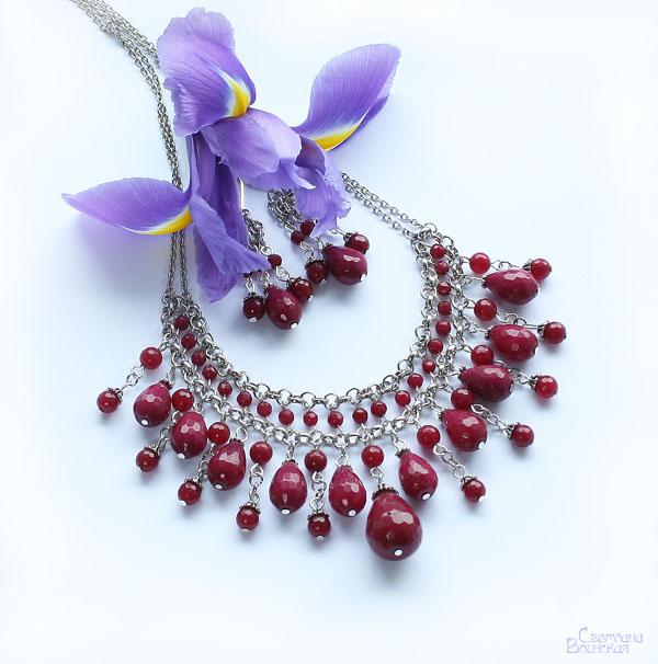 браслет ожерелье из натуральный кварц длинные бусы комплект авторские украшения камни