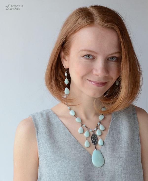 браслет ожерелье из натуральный амазонит длинные бусы комплект авторские украшения камни