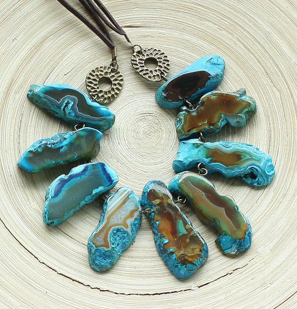браслет ожерелье из натуральный агат с друзой длинные бусы комплект авторские украшения камни