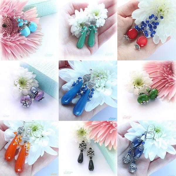 серьги цветы браслет ожерелье из натуральный агат яшма лазурит длинные бусы комплект авторские украшения камни