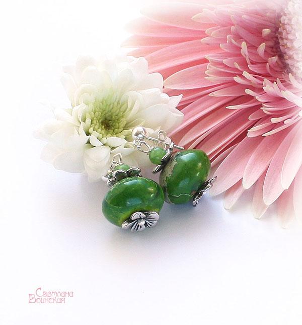 серьги браслет ожерелье из натуральный варисцит яшма длинные бусы комплект авторские украшения камни