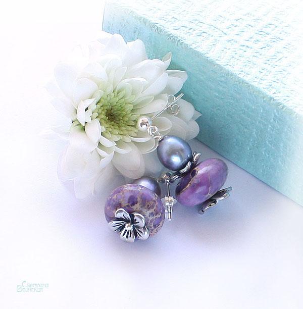 серьги браслет ожерелье из натуральный варисцит яшма серебро длинные бусы комплект авторские украшения камни