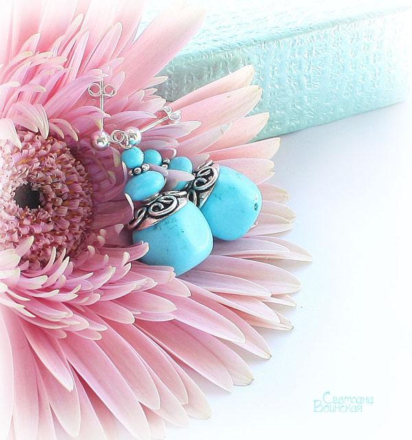 серьги браслет ожерелье из натуральный бирюза серебро длинные бусы комплект авторские украшения камни