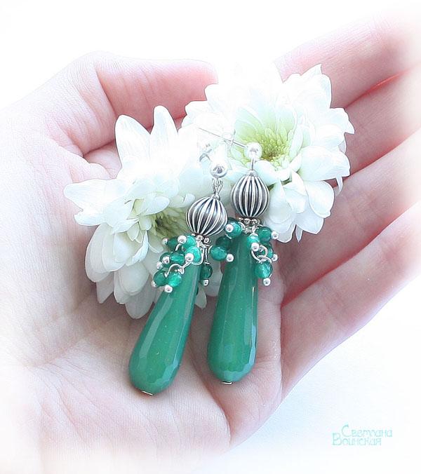 серьги браслет ожерелье из натуральный агат серебро длинные бусы комплект авторские украшения камни