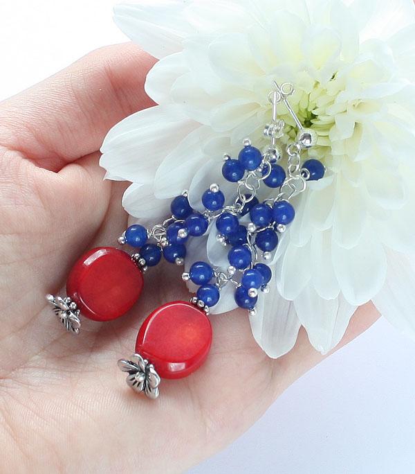 коралл браслет ожерелье из натуральный серьги серебро длинные бусы комплект авторские украшения камни