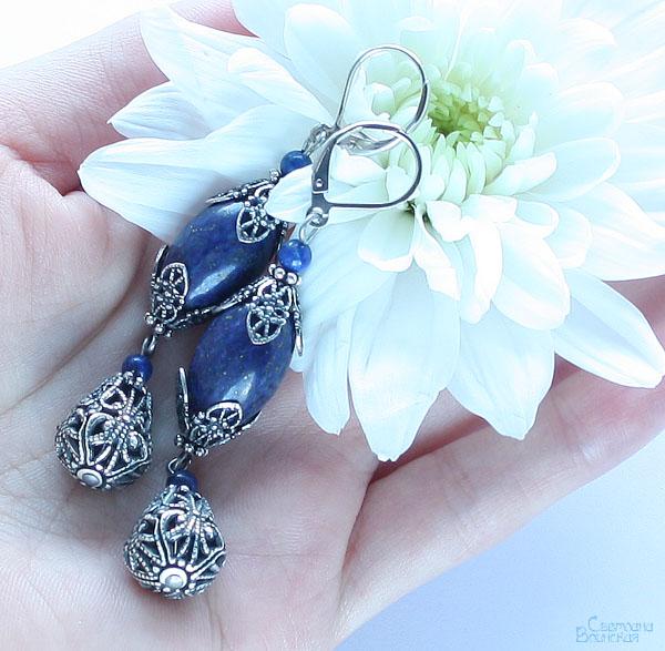 серьги браслет ожерелье из натуральный лазурит длинные бусы комплект авторские украшения камни