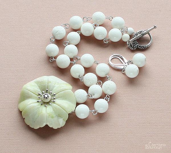цветок браслет ожерелье из натуральный яшма коралл длинные бусы комплект авторские украшения камни