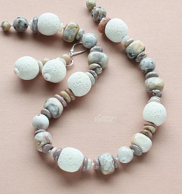 браслет ожерелье из натуральный яшма перламутр длинные бусы комплект авторские украшения камни