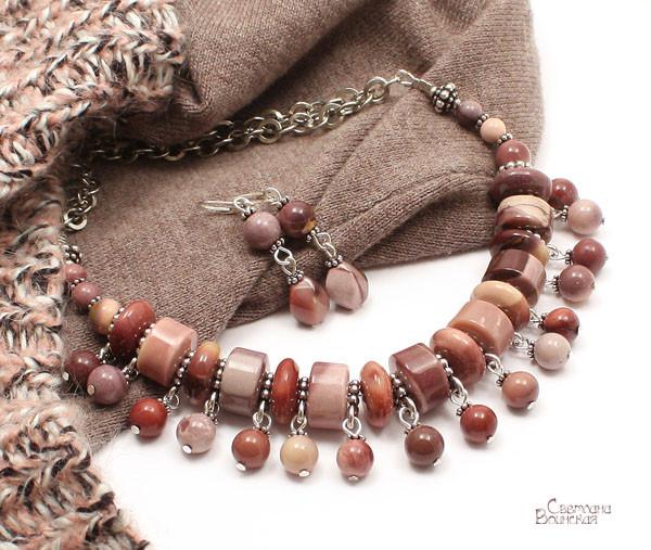 браслет серьги длинные бусы ожерелье натуральный мукаит яшма камни авторские украшения