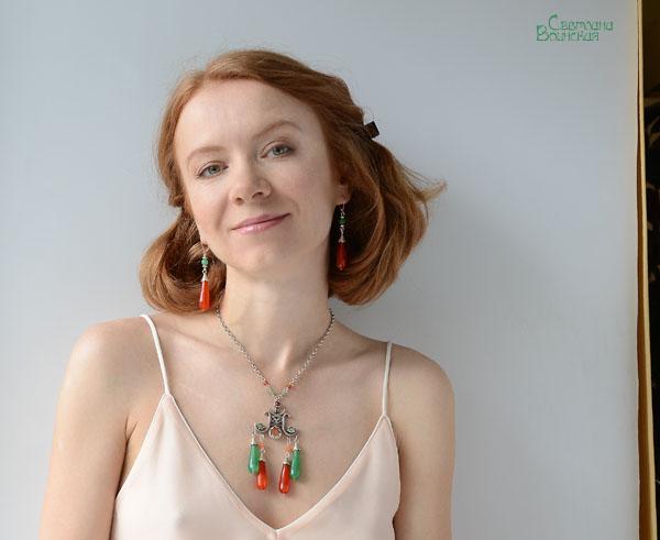 браслет ожерелье из натуральный подвеска агат серебро восточный амулет длинные бусы комплект авторские украшения камни