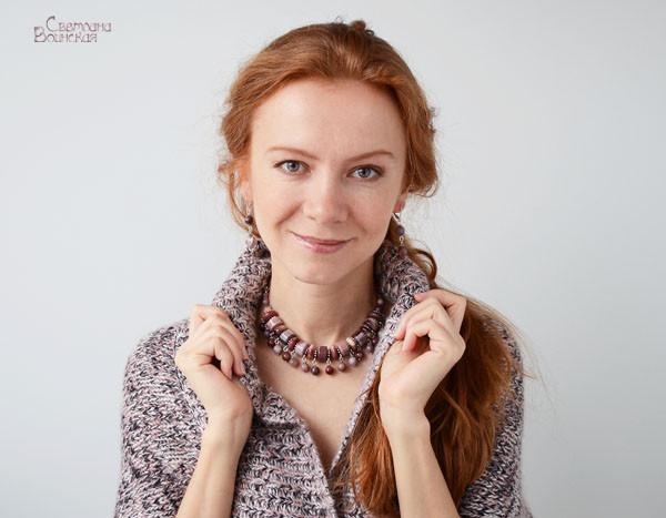 браслет серьги длинные бусы ожерелье натуральный мукаит камни авторские украшения