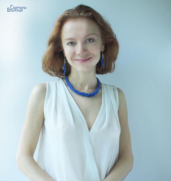 браслет ожерелье из натуральный агат синий длинные бусы серебро комплект авторские украшения камни